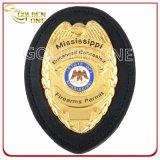 La police faite sur commande en métal d'or Badge avec le cuir véritable