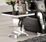 緩和された黒いガラスダイニングテーブルセットの6 Seater Pics