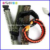 Bracelete Emergency da sobrevivência de Paracord do núcleo da curvatura 7 do aço inoxidável de esportes ao ar livre