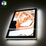 Contenitore chiaro magnetico sottile di acrilico LED di Frameless con il segno di cristallo del blocco per grafici per la pubblicità della maschera