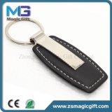 Metallo di cuoio personalizzato alta qualità Keychain con l'anello chiave doppio