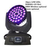 Drahtloses LED bewegliches Hauptlicht des Summen-36X12W 6in1
