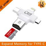 4 в 1 Multi читателе карточки Microsd TF для USB +USB молнии + Type-C+Micro iPhone (YT-R006)