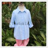 Longues jupes bleues ordinaires de coton de chemisier de filles de robe d'été d'enfants de chemise pour des filles de gosses