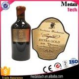 Escritura de la etiqueta de plata antigua de encargo grabada del metal de la botella de vino de la placa de identificación del metal