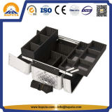 Серебряное легкое скольжение & Extendable случай состава ромбовидного узора подноса (HB-6308)