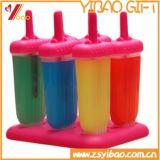 Molde del helado del silicón con el molde del Popsicle del silicón del palillo