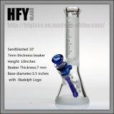 Hfy Glass en stock Sandblasted 10 pouces 7mm Epaisseur Illadelph Verre givré Smoking Water Pipe Beaker bleu Shisha Wholesale