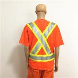 Workwear alaranjado brilhante da segurança com a fita elevada da visibilidade