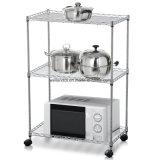 Универсальный шкаф микроволновой печи кухни белого металла с колесами