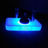 Bandeja iluminada LED recargable de la porción del vino de los muebles de la barra con WiFi teledirigido