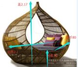 Handmade PE Rattan Almofada Bed