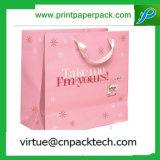 Bolsa de papel cosmética de lujo con el color de encargo de la insignia impreso