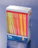La bande colore la paille à boire en plastique de module de sac de 200PCS OPP