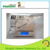 Hw-Tr18 jogo ajustado da régua de Haiwen da embalagem do PVC 2PC da régua do triângulo do escritório 18cm