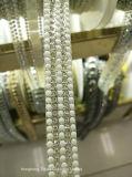 2017のHotfixのWeddingdress (TS-021)のための水晶ラインストーンの鎖のアップリケのレースのリボンのトリムのラインストーンによって玉を付けられるチェーン鉄