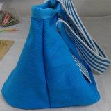 Il sacchetto della borsa della tela di canapa della maniglia banda bianca/blu/regalo della tela di canapa/fa pubblicità alla borsa