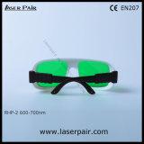 Hoge Optische Dichtheid van Rode Glazen 635nm, 650nm, 694nm van de Bescherming van de Ogen van de Beschermende brillen van de Veiligheid van de Laser (rhp-2 600700nm) met Frame 36