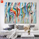 Pintura colorida moderna del arte de la pared de la cebra de Raibow
