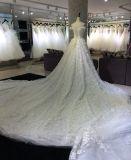 Hochzeits-Kleid der Prinzessin-Champagne mit der 3 Meter-Serie