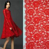 布の服のためのアフリカのギピールレースのコードのティッシュのTecidoの花の刺繍されたまつげのレースファブリックポリエステル縫う供給