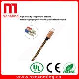 Cuerda tejida tejido tela de carga micro de la sinc. de los datos del cable del USB para Samsung