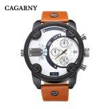 Случай черноты кожаный планки движения кварца Wristwatch Mens Cagarny 6819