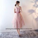 Hohe niedrige Brautjunfer Dresess elegante Sleeveless Spitze-Brautjunfer-Kleider