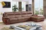 Salón de cuero de color marrón, sofá de esquina de cuero (656)