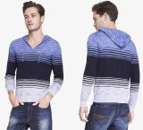 Fashion Long Sleeves Lightweight Slub Knit Men Hooded Pullover Sweater