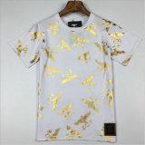 円形カラーが付いている熱い押す印刷された人のTシャツ