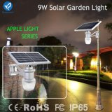 Illuminazione solari chiare esterne del giardino LED di IP65 9W 8-10m