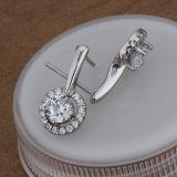 Manier 925 van vrouwen de Echte Zilveren Ingelegde Oorringen van de Diamant