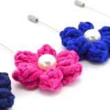 Flor de lã Handmade étnica do Crochet do fio com os Brooches de imitação da pérola