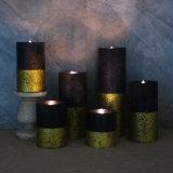 Vela de la cera LED del pilar de la vela del oro LED de la decoración de la Navidad con la llama móvil