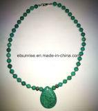 Halb kostbarer Stein-blaues Grün-Türkis-wulstige Halsketten-Schmucksachen