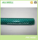Tuyau de jardin tressé renforcé flexible vert en plastique de l'eau de fibre de PVC