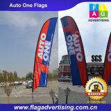 Рекламировать флаг пляжа изготовленный на заказ печатание логоса напольный с Поляк и основанием