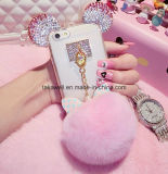 2016 New Luxury Crystal Mickey Head Bowknot Fur Ball Suave TPU Cell Phone Case para iPhone 5 / 5s / 6 / 6s / 6plus Mobile Cover