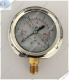 De Olie van het Geval van het roestvrij staal - gevulde Manometer met de Aansluting van de Bodem van het Messing
