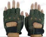 戦術的な滑り止めの半分指の革ニットの手袋