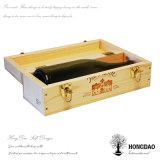 Rectángulo de madera del vino de la alta calidad de Hongdao con el corchete