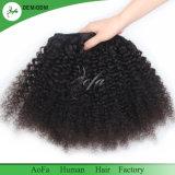 머리 흑인 여성을%s 100%년 Virgin Remy 머리에 있는 처리되지 않은 사람의 모발 클립