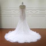 3/4 de vestido nupcial Appliqued da sereia da luva qualidade fina