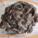 Parrucca grigia piena del Toupee del Mens di colore dei capelli umani del merletto