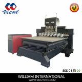 Macchina di scultura di legno piana e rotativa della Multi-Testa della macchina di falegnameria