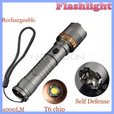 Zoomable nachladbare CREE 4000lm Xml T6 LED taktische Taschenlampe