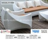 Mobilia di vimini bianca di lusso del patio del giardino del rattan di disegno di svago
