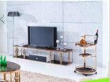 Soporte moderno de la TV del acero inoxidable del oro de la galjanoplastia para el hogar CT9001
