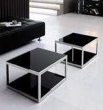 현대 유리제 광택 스테인리스 사각 커피 탁자